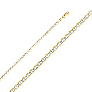 14K Yellow 3.4mm Flat Mariner Pave Chain - 24""